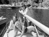Abba Swedish Pop Band April 1974 on a Boat Fotografiskt tryck