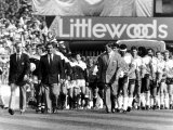 Nottingham Forest Football Manager Brian Clough, Leading His Team on to Pitch Alongside Luton Team Photographic Print
