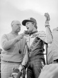 Kenny Roberts Celebrates His Victory at 500cc British Grand Prix Motorcycle Race at Silverstone Photographic Print