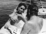 Actress Elizabeth Taylor with Husband Richard Burton November 1963 on Board a Yacht Photographic Print