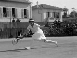 Miss Helen Wills Playing Tennis at Cannes in France February 1926 Papier Photo