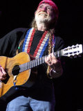 Legenden inden for countrymusik, Willie Nelson, under koncert i Waterfront Hall Fotografisk tryk