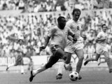 World Cup, Pele of Brazil Races Past a Czechoslovakian Defender Photographic Print