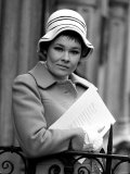 "Judi Dench Wearing a Beret Called ""Cabaret"" from Spring Collection of Christian Dior Chapeaaux Photographic Print"