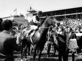 Lester Piggott on Nijinksky Winner of the Epsom Derby 1970 Fotografisk tryk