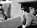 Football Manager of Nottingham Forest FC Brian Clough Sitting on Team Bench During Match Photographic Print