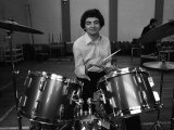 Entertainer Rowan Atkinson Practices on Drum Kit 1980 Photographie