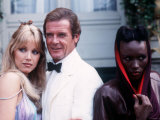 Actor Roger Moore Actress Tanya Roberts and Grace Jones in Scene from James Bond &quot;A View to a Kill&quot; Photographic Print