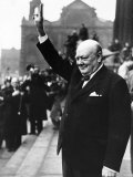 Winston Churchill British Prime Minister Holding His Fingers Up in a V For Victory Sign in Leeds Photographic Print