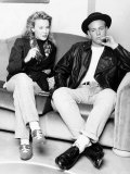 Kylie Minogue Singer Actress with Jason Donovan Singer Actor Sitting on Sofa Photographic Print