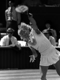 Martina Navratilova Serves During the Wimbledon Ladies Final Against Chris Evert Lloyd Photographic Print