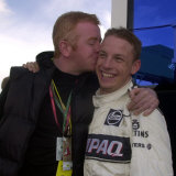 Jenson Button Gets a Big Kiss from TV Presenter Chris Evans Photographic Print