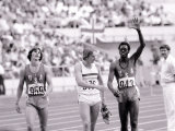 Alan Pasco 400M Hurdles Final with Winner Edwin Moses, USA Olympics Track Event Photographic Print