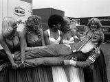 James Hunt After British Grand Prix Lifted by Women 1976 Photographic Print