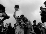 Jackie Stewart with Wife Helen Celebrates Victory of British Grand Prix July 1969 Photographic Print