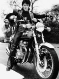 Motorcycles Alvin Stardust Aboard the Kawasaki Z900 Superbike 1976 Photographic Print