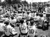 Crowd of Young Fans Wearing Pele T Shirts at His Soccer School in the USA August 1982 Photographic Print