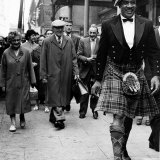 Sonny Liston World Boxing Champion Walking in Glasgow with Kilt Photographic Print