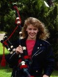 Kylie Minogue Holding Bagpipes September 1988 Photographic Print