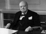 Sir Winston Churchill 1954 No More Details on Copyright Collects Etc Sitting at Office Desk Photographic Print