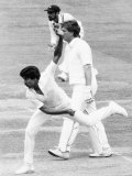 Cricketer Kapil Dev - Indian Fast Bowler in Action Against England at Lord's Fotografisk trykk