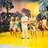 Benny Hill Comedian 1989 with Girls Dancing on Stage Desert Island Palms Trees Set Photographic Print