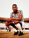 Pele in Santos Football Strip Fotografisk tryk