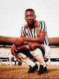 Pele in Santos Football Strip Photographic Print