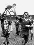 Footballer Liverpool FC Kenny Dalglish Graeme Souness Alan Hansen Celebrating Winning Championship Photographie