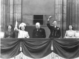 Prime Minister Winston Churchill Joins Family on Balcony at Buckingham Palace on VE Day, WWII Photographic Print