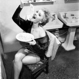 Actress Greta Unger Eating Pasta, October 1953 Photographic Print