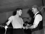 Boxer: Wally Thom Helped in His Training by His Uncle James Thom at His Birkenhead Gym Photographic Print