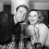 Actor Sean Connery with Actress Honor Blackman on the Set of Film Goldfinger at Pinewood Studios Lámina fotográfica
