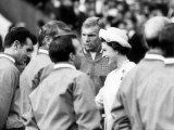 Queen Elizabeth at Opening Presentation of 1966 World Cup at Wembley with Bobby Moore Photographic Print