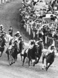 Horseracing Epsom Derby Pounce as They Come Around the Tattenham Corner Photographic Print