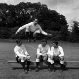 Dave Mackay of Tottenham Hotpurs Jumps Into the New 1965-66 Season Lámina fotográfica