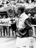 King Boris Becker Plants Smacker on the Championship Trophy Photographic Print