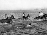 Local Riders Take Horses from Riding School at Westgate Out For Run on Sands and a Bathe in the Sea Photographic Print