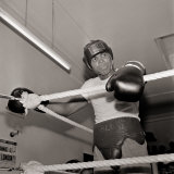 Cassius Clay in Training, Boxing, Head Gear 1960s Photographic Print