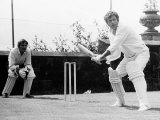 Oliver Reed Actor at Batting Practice For a Challenge Match in the Grounds of His Home at Ockley Photographic Print