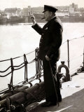 British Prime Minister Winston Churchill Gives Victory Sign in Response, WWII Photographic Print