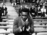 Brazilian Football Star Pele Watching the England V Brazil International Match at Wembley Stadium Reproduction photographique