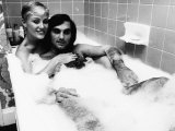 George Best with His Wife Angie in the Bath January 1978 Photographic Print