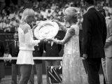 Martina Navratilova Receives Shield After Beating Chris Evert in the Wimbledon Womens Singles Final Photographic Print