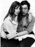 Jane Birkin Actress and Serge Gainsbourg at Home in Their Chelsea Flat Papier Photo