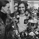Emerson Fittipaldi Wins the British Grand Prix at Brands Hatch Stands with Wife Marina Elina Photographic Print