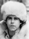 Elton John Pop Singer Wearing a White Fur Hat and Coat Photographic Print