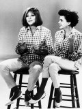 Judy Garland Actress Singer and Barbra Streisand Singer Sitting on Stools Singing Together Photographic Print