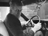 Jon Pertwee Actor Seated Inside One of 12 Cylinder Lamborghinis Flown Specially from Italy Fotografisk tryk