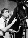 """Actor Comedian Norman Wisdom with Nellie the Horse in the Film """"The Early Bird"""" Photographic Print"""